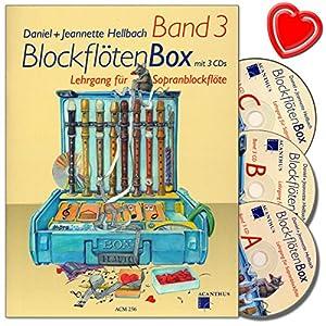 Blockflötenbox Band 3 – Blockflötenschule mit 3 CDs von Daniel Hellbach – Spielstücke, Improvisationen, Technische Übungen, Theorie und Notenkenntnisse – mit bunter herzförmiger Notenklammer