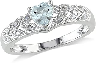 2/5 Carat (ctw) Aquamarine Heart Ring with Accent Diamonds in Sterling Silver
