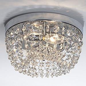 "SOTTAE Modern Elegant Hallway Living Room Dining Room Kitchen Ceiling Light Fixtures Mini Crystal Chandelier,Flush Mount Crystal Ceiling Light Small Chandelier H5.3"" X W9.8"",2 Lights"