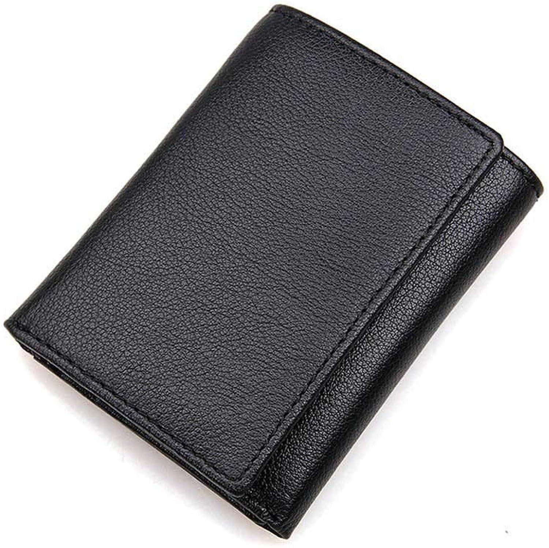 LMSHM Kurze Brieftasche Für Herren RFID Wallet Wallet Wallet Anti-Diebstahl-Scanning Leder-Geldbörse Hasp Krotitkarte Trifold Geldbörse,Schwarz,10,5  8,5 cm B07LHB9LZY 7caec4