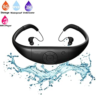 MP3 Waterproof Swimming Player, Tayogo Underwater 8GB Memory and Wireless Sports All in one Headset, IPX8 Waterproof 3 Metres Underwater Music Playing