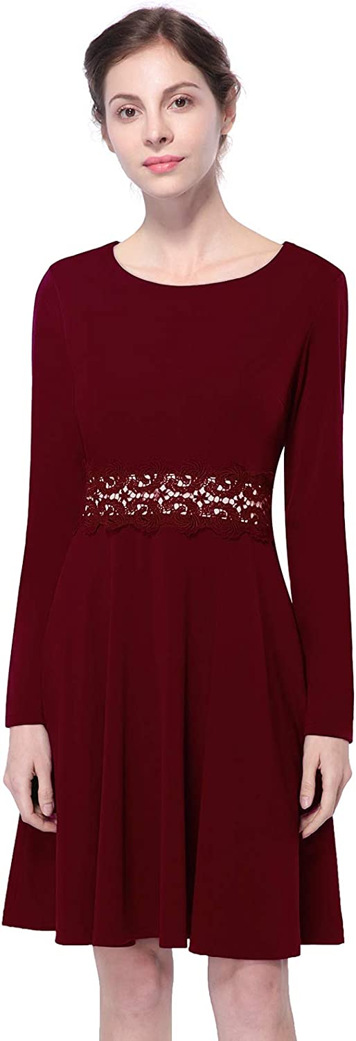 Mavis Laven Women Long Sleeve Embroidery Lace color Block Cocktail Wedding Guest Dress