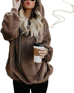 KOERIM Women s Warm Fuzzy Oversized Sherpa Pullover Hoodie Pockets  (Necklaces) 60b76a078