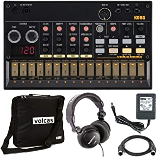 Korg Volcabeats Analog Rhythm Machine with Power Supply, Volca Case, Headphones and MIDI Cable Bundle (5 Items)