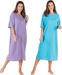 Women's 2-Pack Long Henley Nightshirts - Set of 2 Pajama Sleep Shirt Loungers