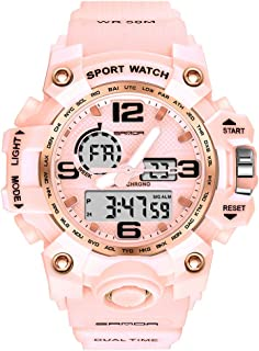 Women's Digital Sports Watch, Dual-Display Waterproof...
