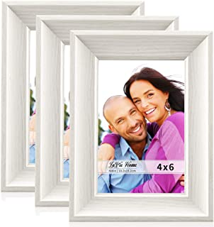 LaVie Home 4x6 Picture Frames(3 Pack,White) Wood Texture Photo Frame Set with High Definition Glass for Wall Mount & Table Top Display, Set of 3 Alice Collection