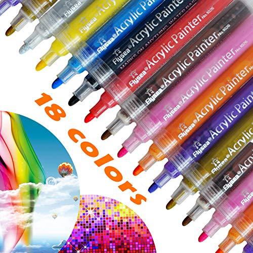Acrylstifte Marker Stifte, MacCoya 18 Farben Permanent Wasserfest Stifte, Acryl stifte für Stein, Leinwand,Holz, Bemalen, Keramik, Metallic, Mug Design, DIY Fotoalbum Gästebuch