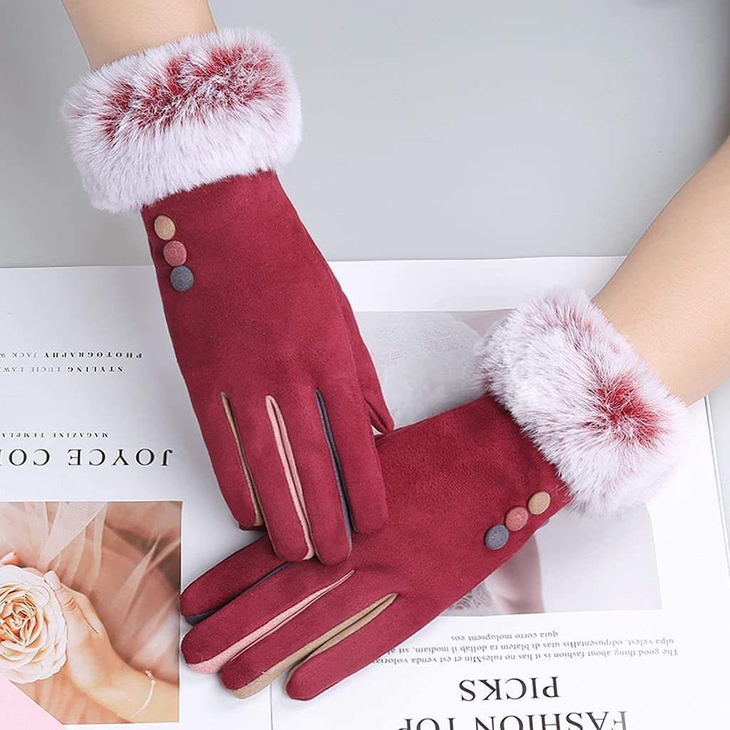 JEONSWOD Winter Female Single Layer Warm Cashmere Full Finger Button Cycling Mittens Women Suede Leather Touch Screen Driving Gloves (Color : D)