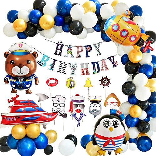 APERIL Geburtstagsfeier Dekoration Ballon, Navy Happy Birthday Banner und Foto Requisiten Zubehör Kit, U-Boot / Dampfschiff / Cartoon Seemann / Kapitän Luftballons für Jungen Kinder Geburtstagsfeier