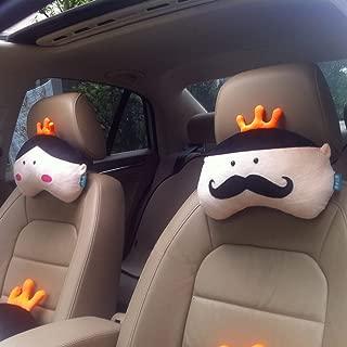 A.B Crew 2 PCS Creative Car Headrest Head Cushion Plush Neck Pillow(King+Queen)