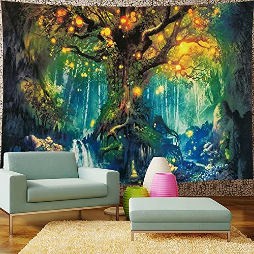 ENJOHOS Magic Tree Tapestry Natural Green Forest Wall Hanging 3D Tree of Life Artwork for Bedroom Dorm Room,W79 x T59