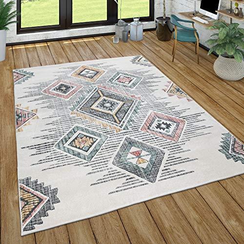Alfombra Sala de Estar Pila Corta Patrón geométrico Skandi Boho Estilo Moderno, tamaño:160x230 cm, Color:Multicolor