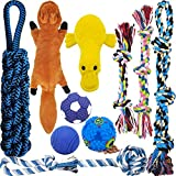 MLCINI Dog Toys Plush Dog Squeaky Toys Rope Dog Toy Dog Chew Toys Dog Toys for Medium Large Small Dogs Puppy Toys Dog Ball Dog Gift Set Dog Toy Pack with Bonus Storage Bag Safe and Durable