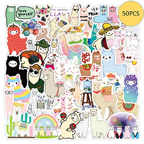 VWORK 50PCS Cute Alpaca Stickers, Funny Internet Pop Animal Stickers for Teens, Girls, Adults,Kids, Lamini Stickers, Upgrated Water Bottle Stickers, Skateboard Stickers, Computer Stickers