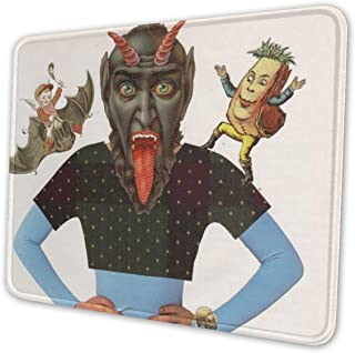 Monster Merry Krampus Christmas Themed Office Gaming Mouse Pad Gamer Computer Accessories Cool Mat Small for Girl Boy Kid Women Men Home Decor Merchandis Items