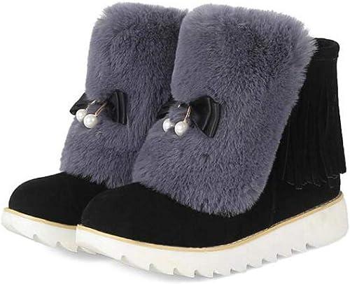 CN botas Cortas para mujer, Ante, Aumento de la Altura Dentro de Las botas para la Nieve. plataforma Plana zapatos de Algodón.