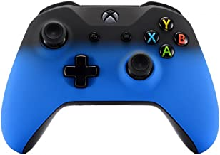 eXtremeRate Shadow Blue Faceplate Cover, Soft Touch Front Housing Shell Case, Comfortable Soft Grip Replacement Kit for Xbox One S & Xbox One X Controller