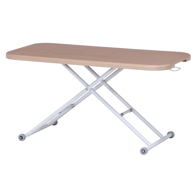 不二貿易 昇降テーブル 幅120cm 高さ12~70cm ナチュラル ガス圧 キャスター付き ワイド 74711