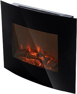 HOMCOM Chimenea Eléctrica Tipo Estufa de Pared con Efecto Leña Ardiendo y Mando a Distancia 900W/1800W 65x11.4x52cm
