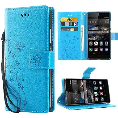 iDoer Hülle Kompatibel Mit Huawei P8 Schmetterling Leder Hülle Schutzhülle Blau