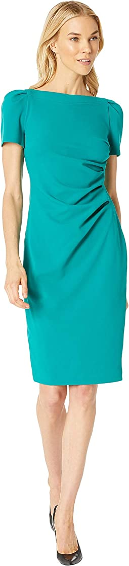 Short Sleeve Ruched Sheath Dress