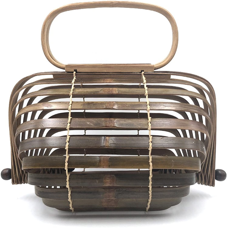 Bamboo Handbag Collapsible Handmade Beach Tote Bag for Women