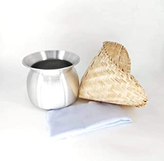 Set of Sticky Rice Steamer Pot and Basket with Cotton Cheesecloth Cook Kitchen Cookware Tool
