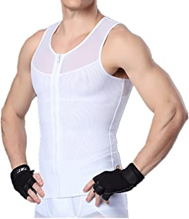 Mens Slimming Body Shaper Tank Top Front Zipper Tummy Slimming Vest Shirt
