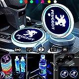 KINBEAR LED車カップホルダー マット7色充電式車ドリンクホルダー車室内装飾ライト(プジョー)