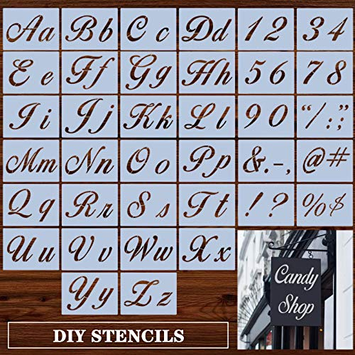 Letter Stencils for Painting on Wood, Reusable Plastic Art Alphabet Stencils with Calligraphy Font Upper and Lowercase Letters, Numbers and Signs - Set of 36 Pcs