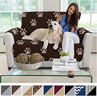 MIGHTY MONKEY Reversible Loveseat Slipcover, Seat Width to 54 Inch Furniture Protector, 2 Inch Elastic Strap, Washable Slip Cover for Loveseats, Protects from Dogs, Love Seat, Paw, Chocolate Taupe