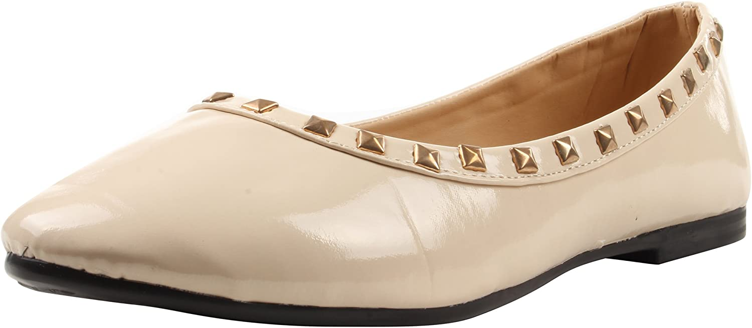 Enimay Women's Ballet Style Flats Adorned with Pyramid Studs Casual Formal shoes