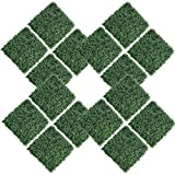 kdgarden 16PCS 20'x20' Artificial Boxwood Panels Topiary Hedge Plant UV Protected Faux Grass Wall Greenery Mats for Outdoor Garden Fence Backyard and Indoor Home Wedding Decoration, Dark Green