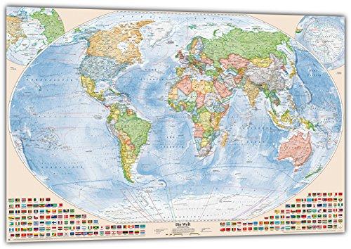 J.Bauer Karten Politische Weltkarte XXL, 220 x 144 cm (einteilig), Stand 2019