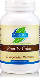 Priority One Vitamins Priority Calm 90 Vegetarian Capsules Support a Healthy Relaxed State of Wellbeing and restful Sleep* - Botanical Supplement for Mood and Stress Management*