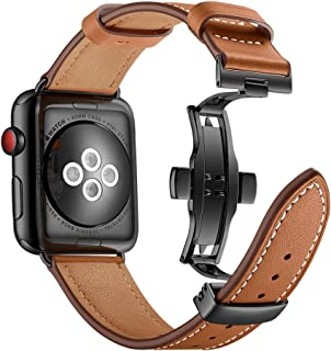 Aottom Compatible for Apple Watch Band Leather 38mm 40mm Men Women Sweatproof Sport Smart Watch Replacement Band Metal Butterfly Buckle Bracelet Wristband 42MM/44MM Brown
