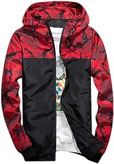 Howely Mens Multicam Skinny Hooded Zips Jacket Pockets Print Punk Rock Coats