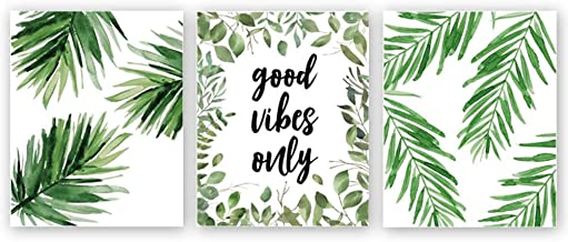 Good Vibes Only Quote Inspirational Art Print, Natural Plant Green Leaf Canvas Art Painting,Set Of 3(8''x10''),Yoga Studio...