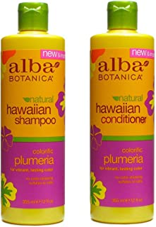 Hawaiian Hair Wash Replenishing Plumeria and Hawaiian Hair Conditioner Replenishing Plumeria Bundle With Pineapple, Papaya, Quinoa, Aloe and Ginger, 12 fl. oz. Each