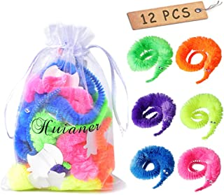 huianer 12pcs Magic Worm Toys Wiggly Twisty Fuzzy Carnival Party Favors(Random Color)