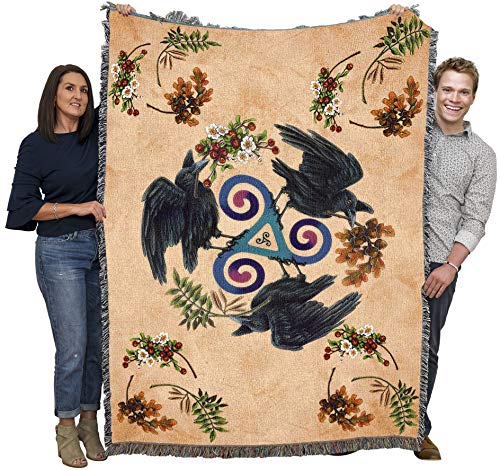 Ravenfey - Brigid Ashwood - Blanket Throw Woven from Cotton - Made in The USA (72x54)