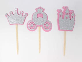 All About Details Princess Theme Cupcake Toppers, Set of 12 (Light Pink & Silver)