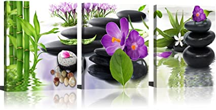 Canvas Wall Art 3 Panel Modern Spa Bamboo Zen Stone Purple Flowers Photograph Canvas Painting for Home Wall Decorative