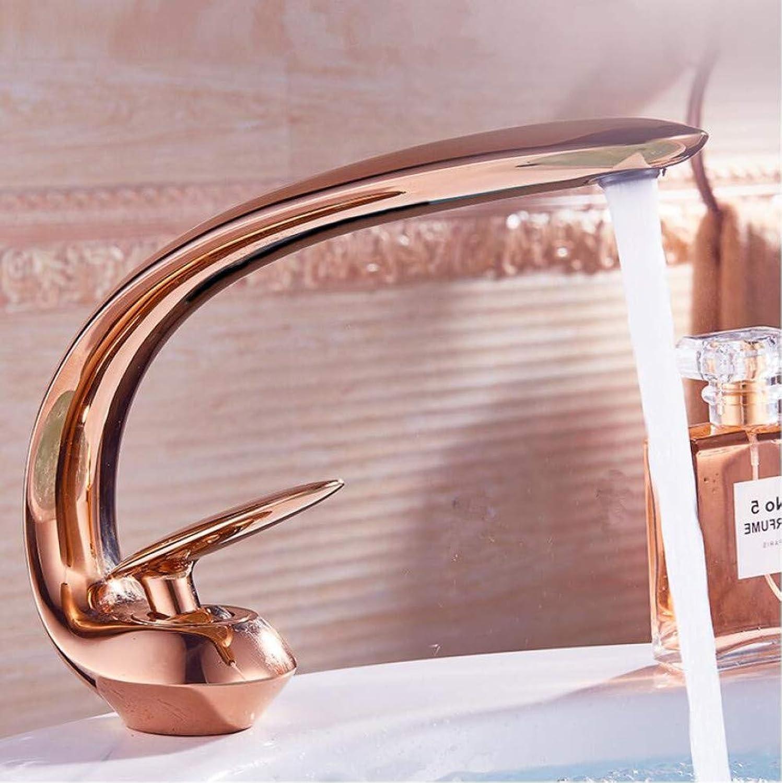 ZHAOSHOP RoséGold Waschbecken Wasserhahn moderne Waschbecken Wasserhahn Messing Waschbecken Wasserhahn Einhand Einlochmontage Kran Bad