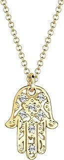 Elli Women's 925 Sterling Silver Xilion Cut Crystal Hamsa Pendant Necklace of Length 45 cm