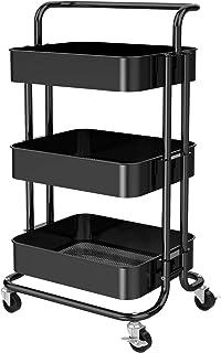 Pipishell Chariot de rangement en maille à 3 niveaux avec poignée et roues verrouillables, étagères de rangement multifonc...