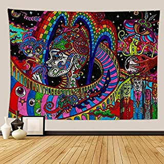 Qchengsan Psychedelic Tapestry,Abstract Unusual Figure with Color and Form Details Hippie Arabesque Retro Pattern, Wall Hanging for Bedroom Living Room Dorm (59 x51 inch)