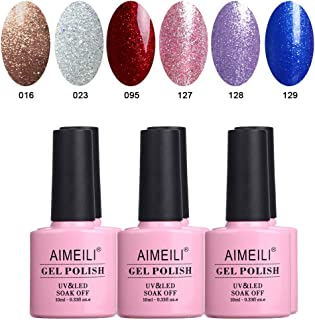 AIMEILI Glitter Gel Nail Polish Set Soak Off UV LED Gel Polish Sparkle Multicolour/Mix Colour/Combo Colour Of 6pcs X 10ml - Gift Kit 29
