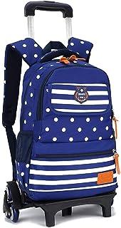 KJRJLG Rolling Backpack for Girls and Boy Rolling School Backpack with Wheels Laptop Backpack Roller Backpack (Color : Blue)